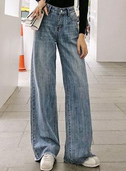 Casual Denim High Waist Wide Leg Pants