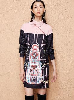 Stylish Color-blocked Lapel Shift Dress