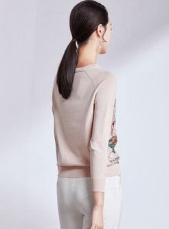 Casual Splicing Print O-neck Knitted Sweater