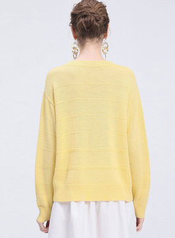 Brief Hollow Out O-neck Loose Sweater