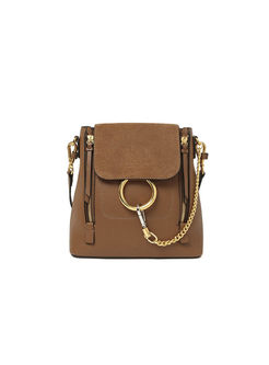 Stylish Circle Chain Push Lock Backpack