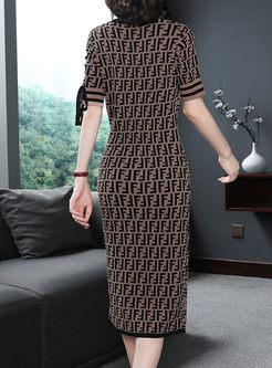 Elegant Short Sleeve Print Knitted Bodycon Dress