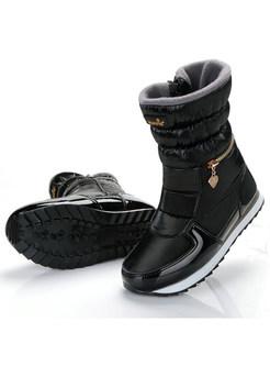 Women Winter Color-blocked Flat Heel Warm Snow Boots