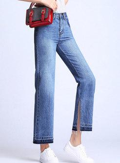Denim Rough SelvedgeWide Leg Pants