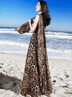 Sexy Leopard Floral Print Slim Sleeveless Dress