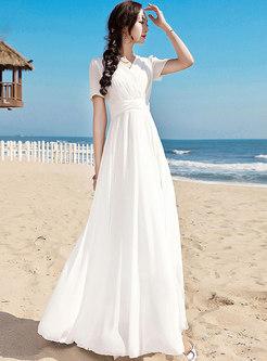 Bohemia White Falbala Mid Waist Big Hem Maxi Dress