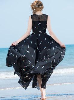 Fashion Plus-size Floral Print Comfortable Maxi Dress