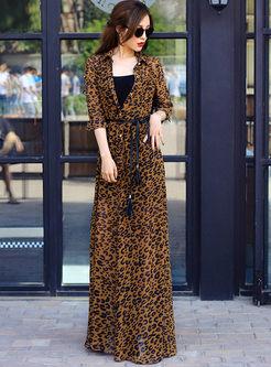 Lapel Single-breasted Waist Leopard Dress