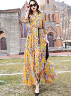 Bohemian Lapel Print Big Hem Maxi Dress