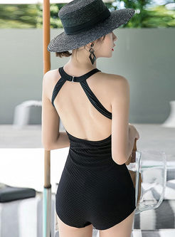 Solid Color Backless One Piece Swimwear