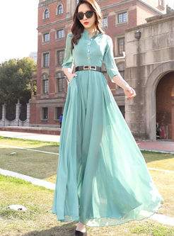 Bohemian Standing Collar High Waist Dress