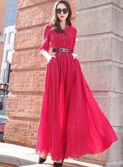 Three Quarters Sleeve Big Hem Maxi Dress