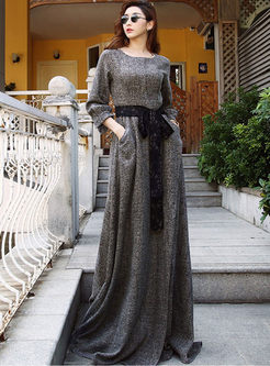 Lantern Sleeve Bowknot Waist Plaid Maxi Dress