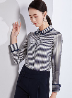 Striped Lapel Single-breasted Slim Blouse