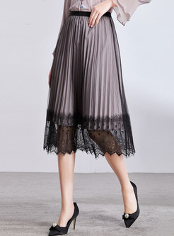 Lace Splicing Elastic Waist Pleated Skirt