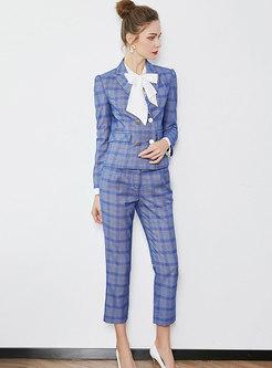 Elegant Plaid Notched Blazer & Straight Pants