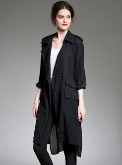 Turn Down Collar Belted Pleated Asymmetric Overcoat