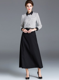 Plaid Lapel Slim Blouse & High Waist A Line Skirt