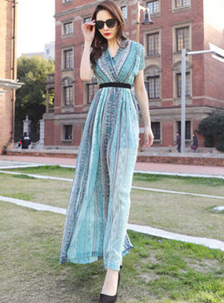 Bohemian V-neck Short Sleeve Wide Leg Jumpsuits