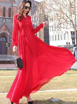 Red Mock Neck Lantern Sleeve Maxi Dress