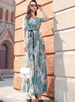 Irregular Neck Waist Print Beach Maxi Dress