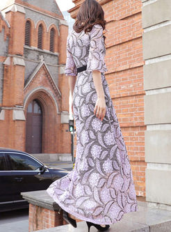 O-neck Flare Sleeve Lace Print Maxi Dress