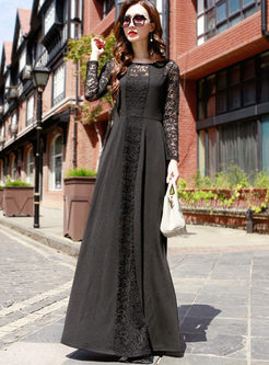 Fashion O-neck Lace Long Sleeve Big Hem Dress