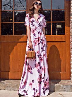 V-neck Short Sleeve Print Slim Maxi Dress