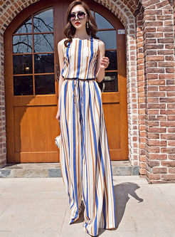 Vintage Sleeveless Striped Two Piece Outfits