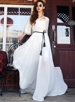White Irregular Neck Tie-Waist Maxi Dress