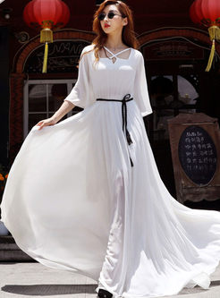White Irregular Neck Tie-Waist Maxi Dress