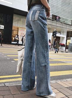 Chic Denim High Waist Wide Leg Pants