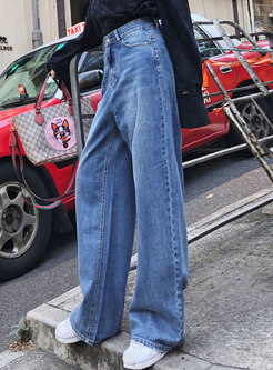 Vintage Denim High Waist Wide Leg Pants