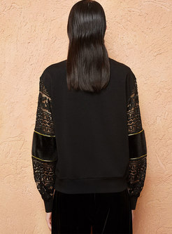 Lace Splicing Embroidered O-neck Loose Sweatshirt