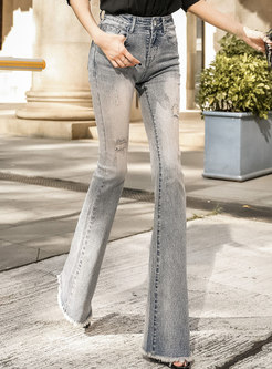 Stylish Denim Rough Selvedge Holes Flare Pants