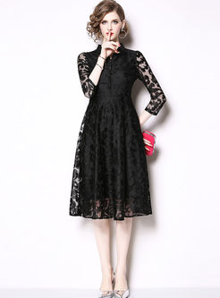 Black Mock Neck Big Hem Lace Dress