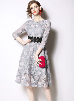 Sweet O-neck Embroidered Lace Waist Dress