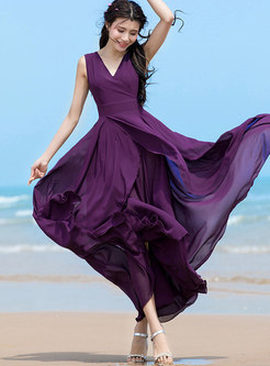 Fashion Purple V-neck Flouncing Irregular Dress