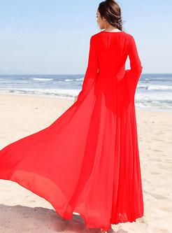 Trendy Red Chiffon Flare Sleeve Maxi Dress
