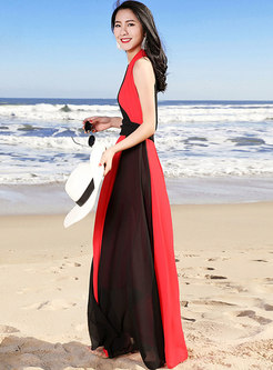 Color-blocked V-neck Splicing Slim Maxi Dress