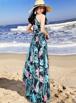 Print Sleeveless Off Shoulder Color-block Maxi Dress