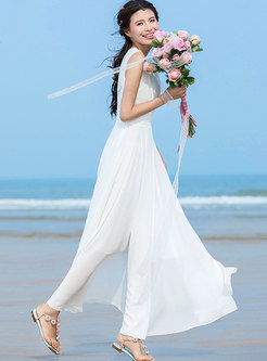 Stylish Perspective Solid Color V-neck Maxi Dress