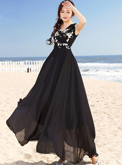 Black Embroidered Splicing High Waist Maxi Dress