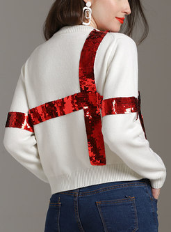 Casual O-neck Sequins Loose Knitted Sweater