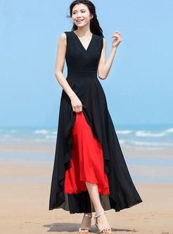 Stylish Asymmetric Color-blocked V-neck Chiffon Dress