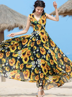 Bohemia V-neck Sleeveless Sun-flower Beach Maxi Dress