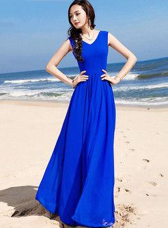 Fashion Blue Backless Tied High Waist Maxi Dress