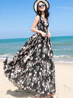Bohemia Floral print Big Hem Maxi Dress