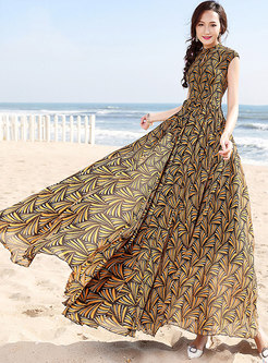 Vintage Floral Print Big Hem Maxi Dress