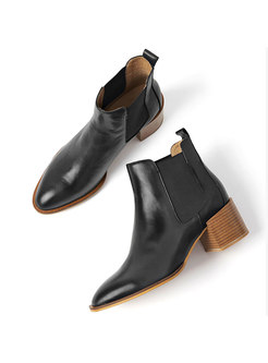 Women Genuine Leather Chunky Heel Ankle Boots